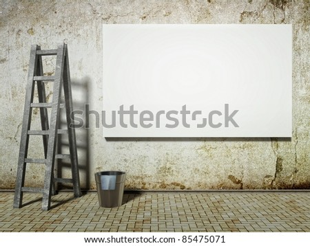 3d Blank street advertising billboard on dirty grunge wall with ladder and bucket