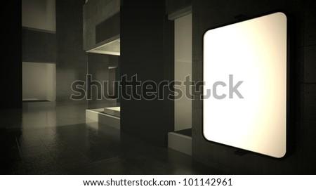 3d blank street advertising billboard on wall at night