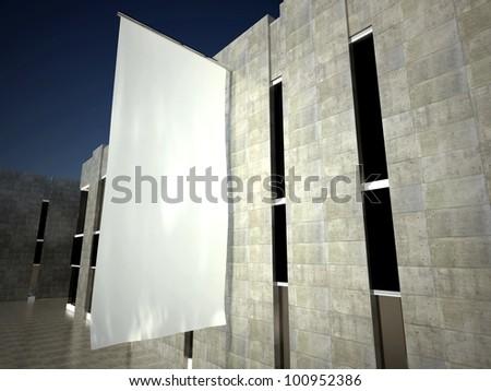 3d blank street advertising flag on building wall
