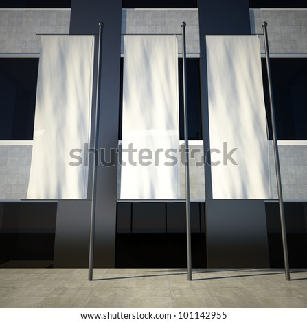 3d blank street advertising flags on building wall