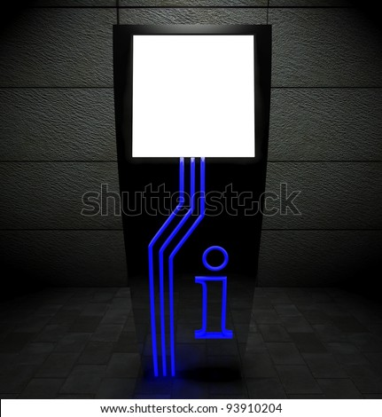3d blank street touch screen stand at night - stock photo