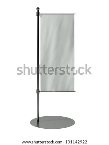 3d blank table flag, isolated on white