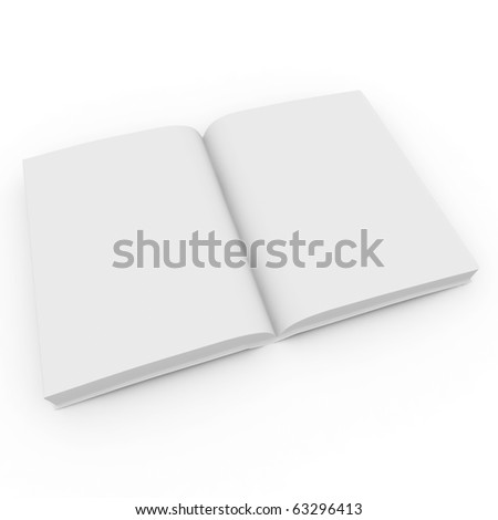 3d blank white  book isolated on white