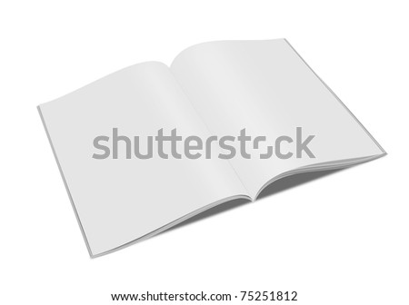 3d blank white magazine isolated on white
