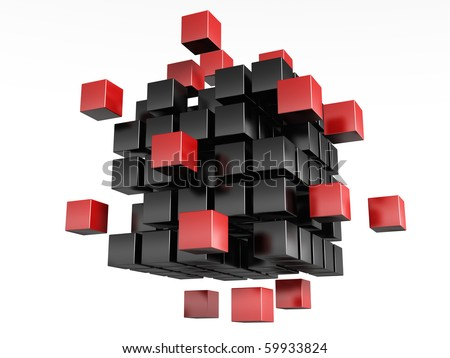 3d blocks red and black color. It is isolated on a white background