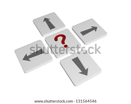 3d blocks with red question-mark sign and grey arrows in opposite directions, concept image