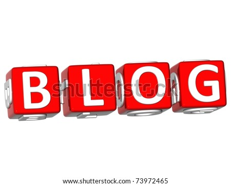 3D Blog Cube text on white background