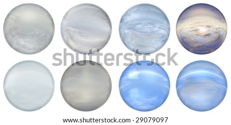 3d blue and grey  glass spheres set or collection  isolated on white background,ideal for 3D symbols, signs or web buttons. It is a sphere reflecting a blue sky with clouds