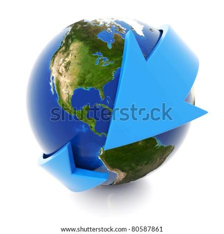 3d blue arrow around the world - stock photo