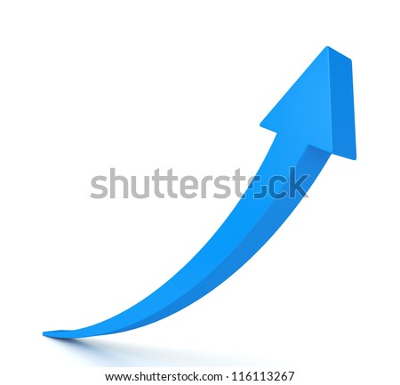 3d blue arrow isolated on white background