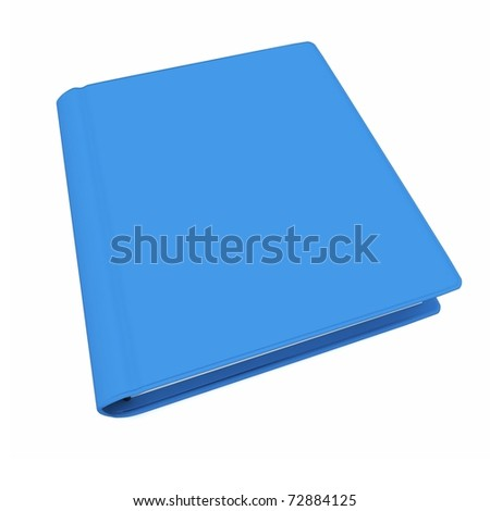3d  blue book with blank cover isolated on white