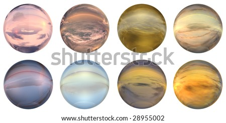 3d blue,brown,grey,pink and orange  glass spheres set or collection  isolated on white background,ideal for 3D symbols, signs or web buttons. It is a sphere reflecting a blue sky with clouds