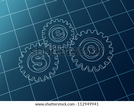 3d blue cam-gears with letters SEO