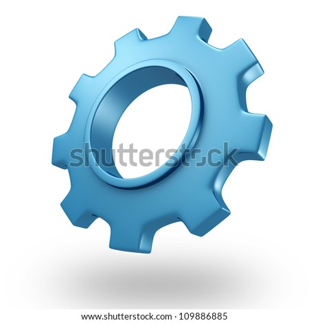 3d blue concept shiny gear wheel on white background