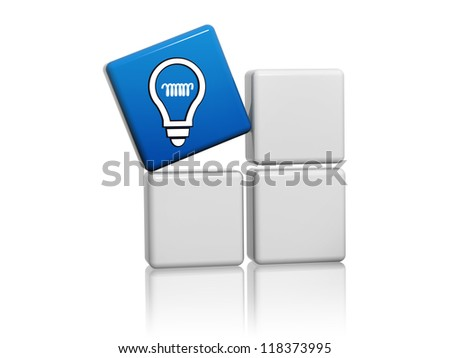 3d blue cube with idea symbol like light bulb icon on grey boxes