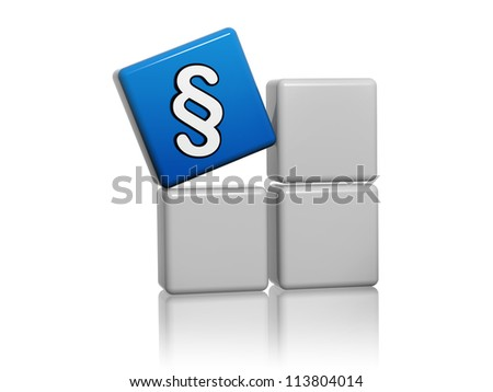 3d blue cube with paragraph sign on grey boxes