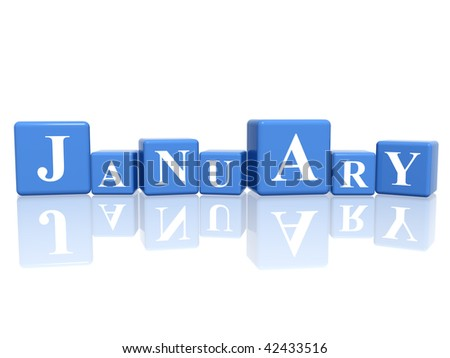 3d blue cubes with letters makes January