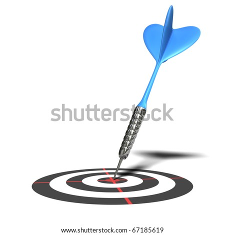 3d blue darts on a red center isolated over white background