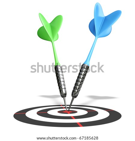 3d blue darts on a red center isolated over white background - stock photo