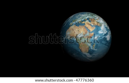 3d blue earth in space