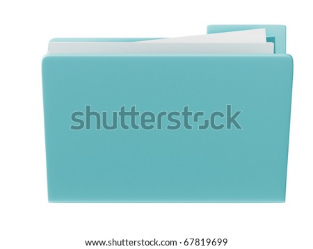 3d blue folder icon isolated in white background