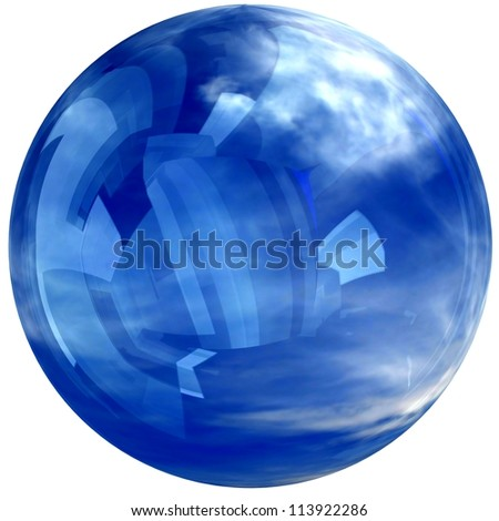 3D blue glass sphere isolated on white, reflecting a sky with clouds