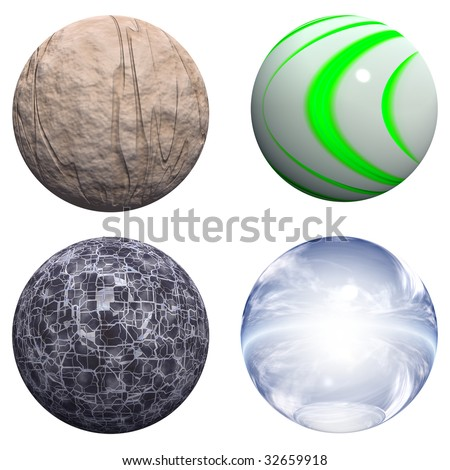 3d blue glass,stone and black spheres set or collection isolated on white,ideal for 3D symbols, web buttons or logo designs