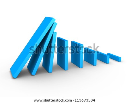 3d blue graph descending and domino effect