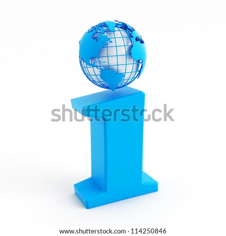 3d blue info icon with globe instead of dot