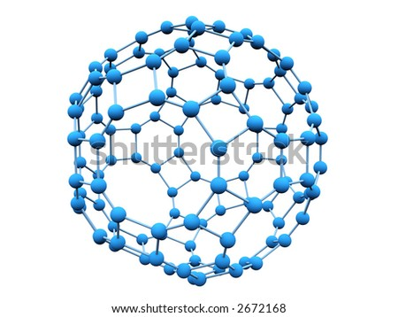3D blue molecule over white background