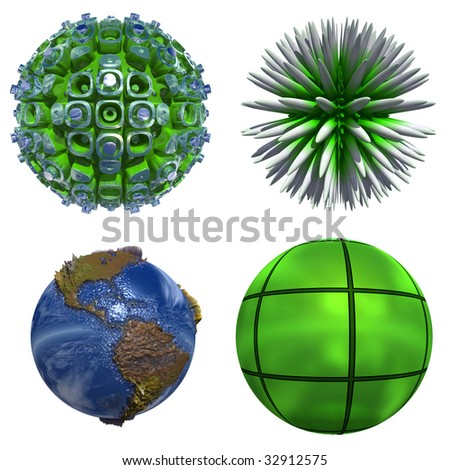 3d blue planet and green spheres se or collection isolated on white,ideal for 3D symbols or web buttons