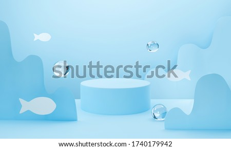 3d blue podium on pastel background abstract geometric shapes. 3d rendering for banner, showcase, presentation, display product mockup design. Creative ideas minimal summer water fish with wave shape.