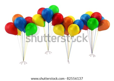 3d blue,red,yellow,green and orange balloons isolated on white