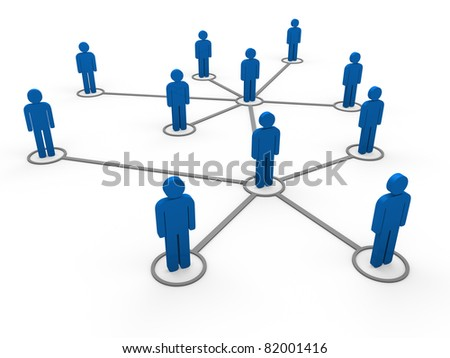 3d blue social network community men team