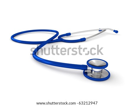 3d blue stethoscope isolated on white background