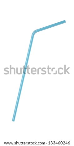 3D Blue Transparent  Drinking Straw Isolated on White
