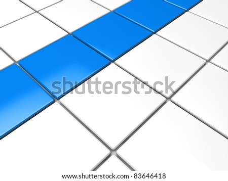 3d blue white cube background area abstract