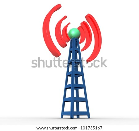 3d Blue Wireless Communication Tower On A White Background ...