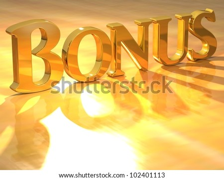 3D Bonus Gold text over yellow background - stock photo