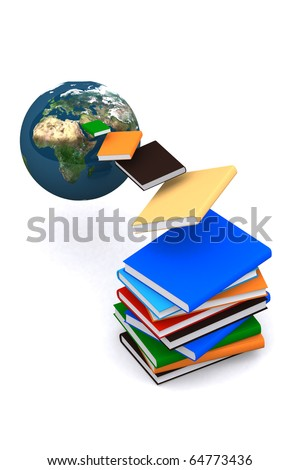 3d book flying from the world on white isolated background