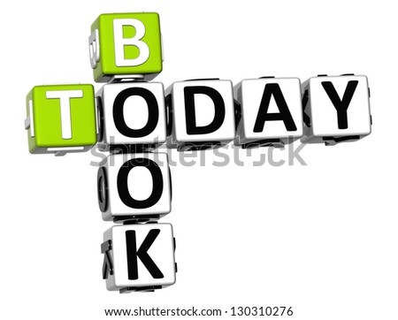 3D Book Today Crossword on white background - stock photo