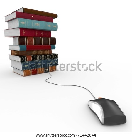 3d books and mouse e-learning concept isolated on white