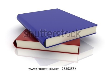 3d Books on white background
