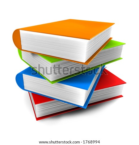 stock photo : 3d Books stacked on top of eachother