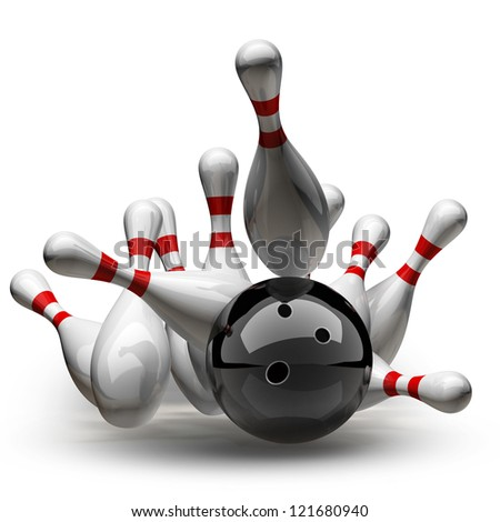 3d Bowling Ball crashing into the pins isolated on white background. High resolution