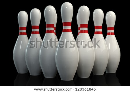 3D Bowling Pins On Black Background