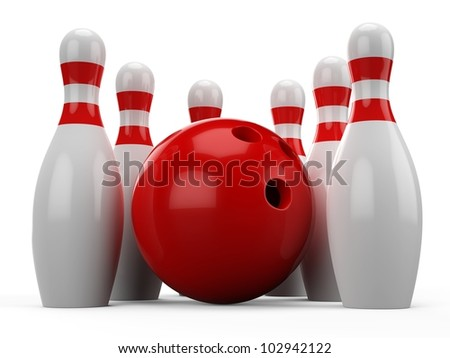 3d Bowling Pins on white background
