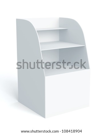 3D Box Display stand for advertising on background. isolated