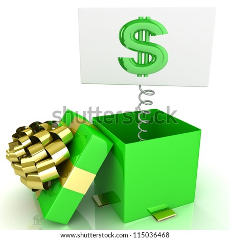 3d box with dollar signs