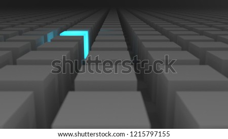 3d boxes in row after row with blue block shining brightly #1215797155